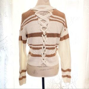 Ivory white brown stripe lace up back knit sweater
